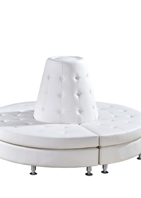 white leather modern deco armless white leather banquette