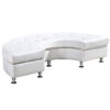 white leather modern deco armless white leather half circle