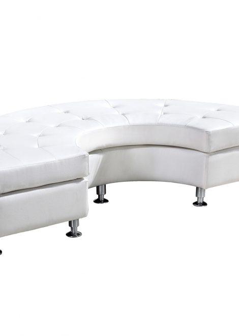 white leather modern deco armless white leather half circle