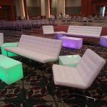 white lit acrylic end tables rental