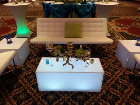 white acrylic end tables rental