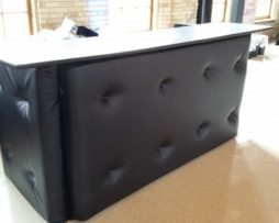 black leather tufted bar rental