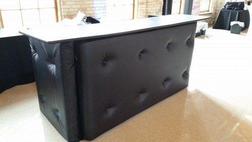 black leather tufted bar rental