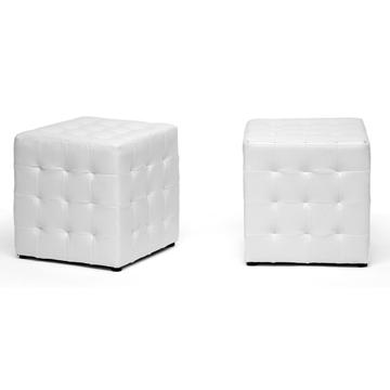 white leather tufted cube footed ottoman