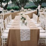 Burlap tablecloth rental chicago and lace runner