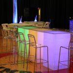 seating branded acrylic bar height highboy LED table