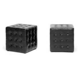 black leather Deco cube footed ottomans