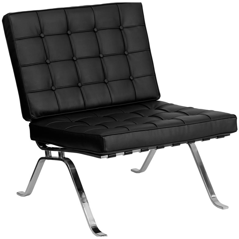 Black Leather Barcelona Armless Chair Lounge Furniture