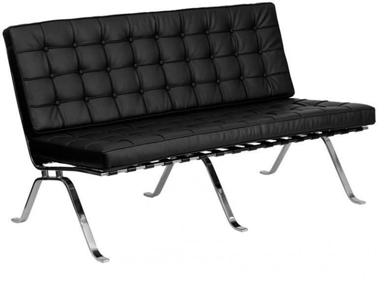 black leather barcelona armless sofa back lounge furniture