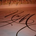white vinyl monogram initials covered dance floor