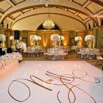 white vinyl monogram initials covered dance floor rental chicago