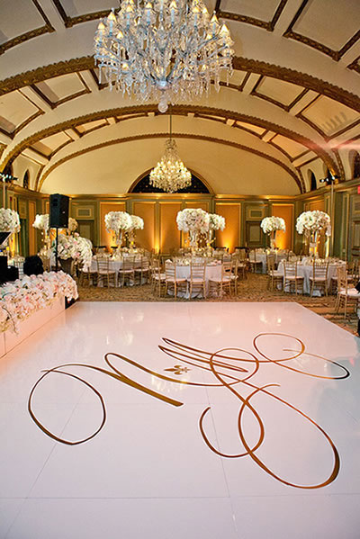 white vinyl monogram initials covered dance floor rental chicago
