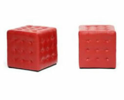 red leather Deco cube footed ottomans
