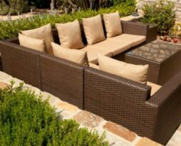 mocha brown outdoor rattan wicker furniture rental chicago
