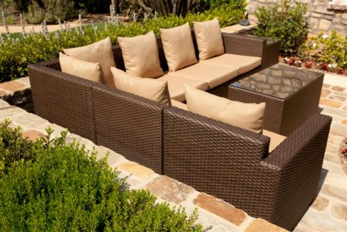 mocha brown outdoor rattan wicker furniture rental chicago - Mocha Brown Outdoor Furniture Sets |