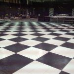 Black and white check designed dance floor