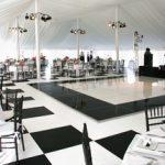Black and white patterned designed dance floor