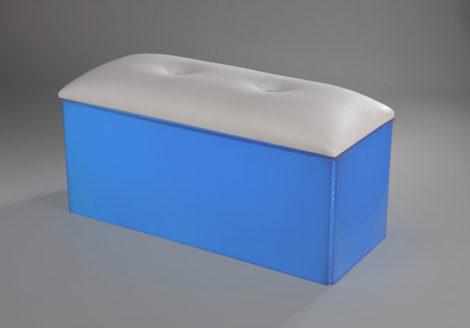 white acrylic club bench led lit lighting blue