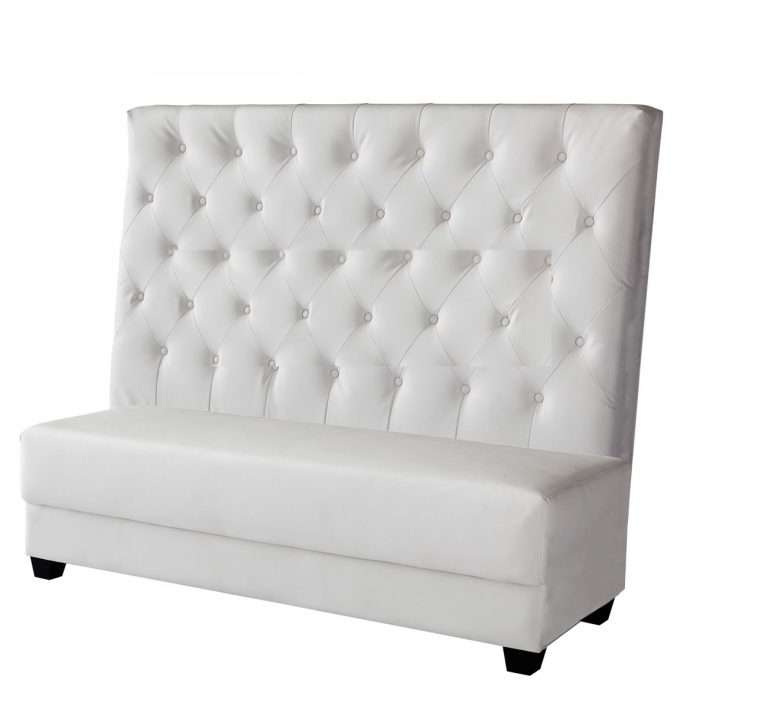 white leather modern high back deco armless white leather bench