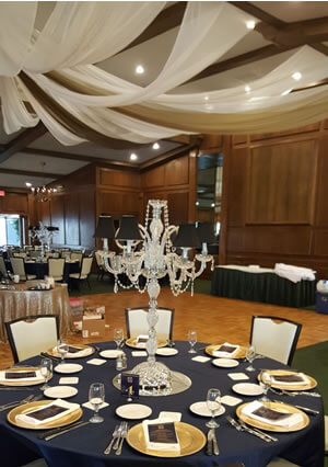 Crystal Candelabra Shown with LED Candles and Black Shades