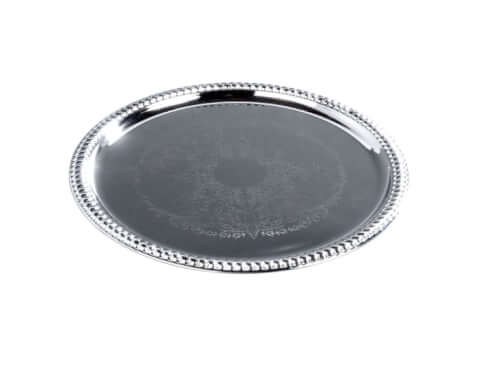 embossed-serving-tray-chrome-14inch-rental-chicago