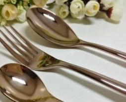 rent flatware rose gold blush pink