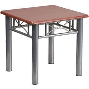 rent-rental-chicago-mahogany-laminate-end-table-with-silver-steel-frame