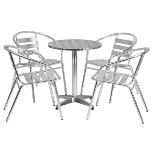 chicago-rent-rental-round-aluminum-indoor-outdoor-table-with-slat-back-chairs