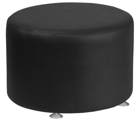 black-round-leather-ottoman-rental-chicago